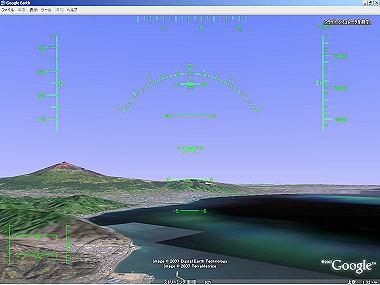 Google Earth で静岡市上空を飛行