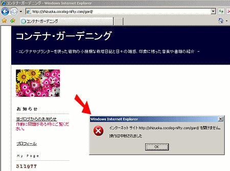 9月2日のメンテナンス後、IE7でココログが表示できたくなった!