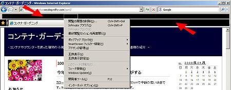 Internet Explorer 8β2 でメニューバーが黒くなる不具合