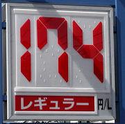 静岡のあるガソリンスタンドの200.09.11のレギュラーガソリンの表示価格