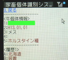 携帯電話版:牛の個体識別番号情報