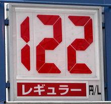 静岡のあるガソリンスタンドの2009.06.07のレギュラーガソリンの表示価格