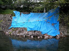 中央体育館屋内プール付近の外堀の石垣の崩落 (撮影 2009.08.23)