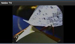 外部燃料タンクと軌道船/Space Shuttle Mission: STS-131 NASA TVから画像引用