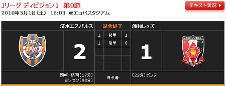 清水 2 - 1 浦和 2010年J1リーグ 第9節