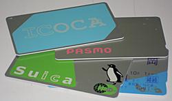 上からICOCA、PASMO、Suica、Toica定期<br />