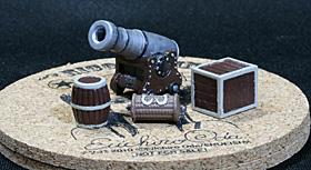 可動式の大砲、樽、木箱、梯子ロープ