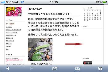 iPhone4のSafariでコンテナ・ガーデニングを表示