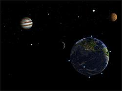 Solar Walk for iPad で見た昨夜の地球と月と木星