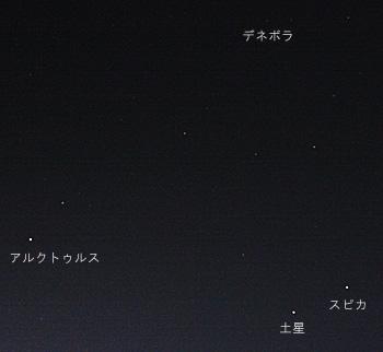 春の大三角と土星 2012.03.31 20:49 静岡市葵区 東の空