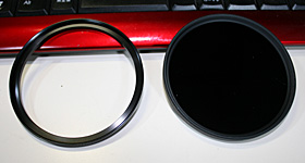 Kenko STEP-UP RING 72-77mm(左)とmarmi DHG ND-100000 77mm
