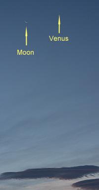 月齢26の月と金星 2012.07.16 04:45 静岡市葵区東北東の空