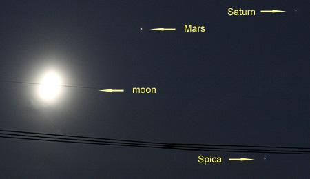 土星、火星、スピカ、月 2012.08.22 19:17 静岡市葵区の西の空
