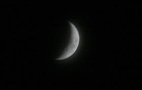 月齢約5の月 2012.08.22 19:20 静岡市葵区の西の空