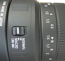 SIGMA 70-300mm F4-5.6 DG MACROのマクロスイッチ