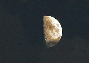 上弦の月 2012.09.23 17:50 静岡市葵区 南の空