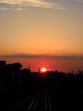夕陽 2012.09.26 17:34 JR磐田駅西側跨線橋 西の空