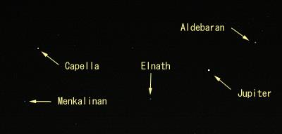 木星とアルデバラン、カペラ 2010.10.21 23:01 静岡市葵区平野部の東の空