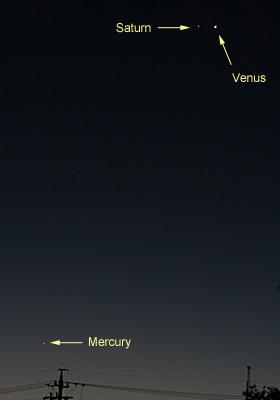 金星と土星、水星 2012.11.27 5:41 静岡市葵区平野部 東の空