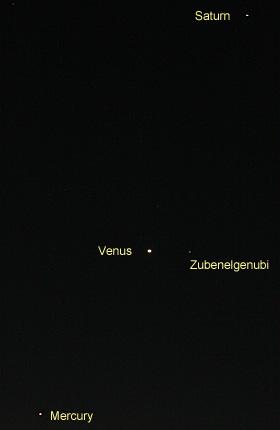 土星と金星、水星 2012.12.05 5:31 静岡市葵区平野部の東の空