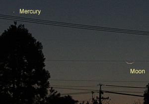 水星と月齢 1.1の月 2013.02.11 17:57 静岡市葵区平野部 西の空