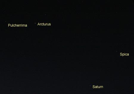 土星とうしかい座やおとめ座の恒星 2013.04.07 20:53 静岡市葵区平野部 西の空