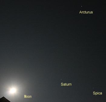 アルクトゥールス、スピカ、土星、月齢14.5の月 2013.05.24 21:48 静岡市葵区平野部 南東の空