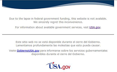 NASAのサイトにアクセスすると表示されるUSA.govのページ