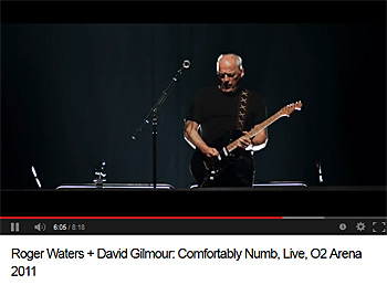 YouTube 'Roger Waters + David Gilmour: Comfortably Numb, Live, O2 Arena 2011'から画像引用