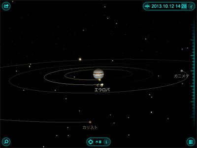 Solar Walk for iPad による 2013.10.12 14:28 の木星とその衛星