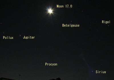 月齢 17.0の月、木星、冬の一等星 2013.11.20 22:30 静岡市葵区平野部 東の空