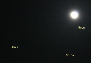 月齢 17.2の月と火星、スピカ 2014.03.18 22:35 静岡市葵区平野部 東の空