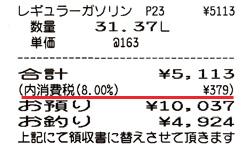 レシートの税金表記