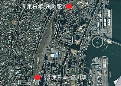 JR東日本 田町 - 品川間の航空写真 (Google mapから画像引用)