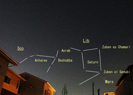 ・火星、土星、てんびん座、さそり座 2014.08.18 20:34 静岡市葵区平野部 南西の空
