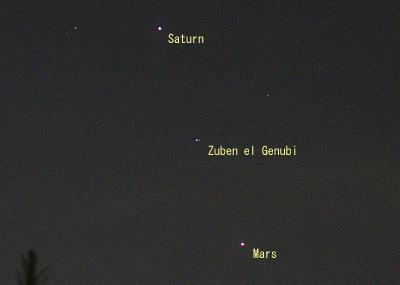 火星、土星、ズベンエルゲヌビ 2014.08.18 20:34 静岡市葵区平野部 南西の空
