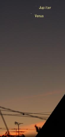 金星と木星 2014.08.19 4:50 静岡市葵区平野部東の空