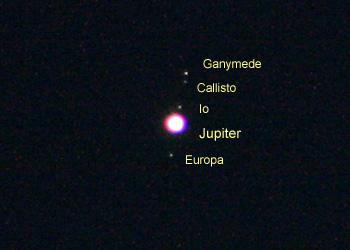 木星とガリレオ衛星 2014.09.14 4:50 静岡市葵区平野部 東の空