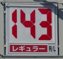 静岡のあるガソリンスタンドの2014.12.30のレギュラーガソリンの表示価格