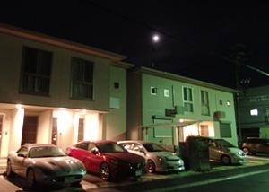 上弦の月 月齢 7.6 2015.02.26 23:28 静岡市葵区平野部 西の空