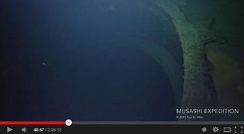 第1主砲がなくなった砲台/Musashi (武蔵) Expedition(YouTube)から画像引用