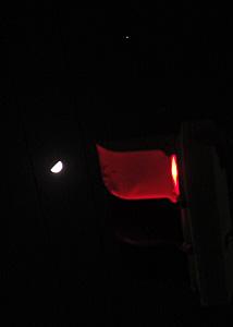 上弦(月齢 7.8)と木星 2015.04.26 21:53 静岡市葵区平野部 西の空