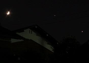 月齢4.9の月と木星と金星 2015.06.21 20:46 静岡市葵区平野部 西の空