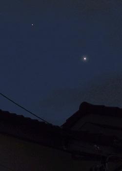 木星(左)と金星 2015.06.25 19:47 静岡市葵区平野部 西の空