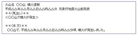 噴火速報の例 気象庁のウェブサイトから引用