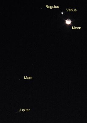 月(月例 25.6)、金星、レグルス、火星、木星 2015.10.09 4:58 静岡市葵区平野部 東の空