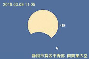 2016年3月9日の部分日食の食の最大 静岡市葵区/ステラナビゲータ10によるシミュレーション
