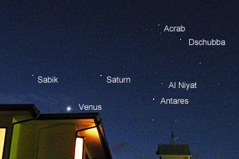 金星、土星、アンタレス 2016.01.14 5:57 静岡市葵区平野部 南東の空