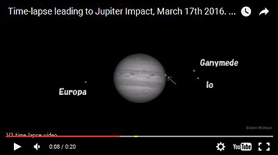 「Time-lapse leading to Jupiter Impact, March 17th 2016. Version 2」からキャプチャー。衛星名は筆者加筆。