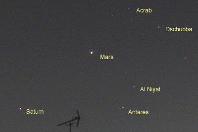 アンタレス、火星、土星 2016.04.09 00:06 静岡市葵区平野部 南東の空